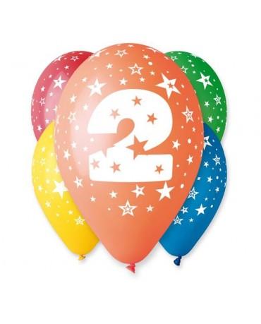 Latexové balóny číslo 2-hviezdy 30cm 10ks