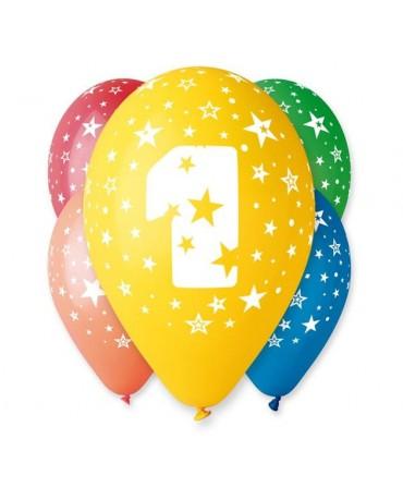 Latexové balóny číslo 1-hviezdy 30cm 10ks