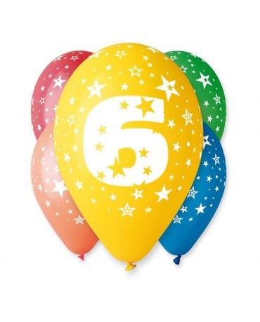 Latexové balóny číslo 6-hviezdy 30cm 10ks