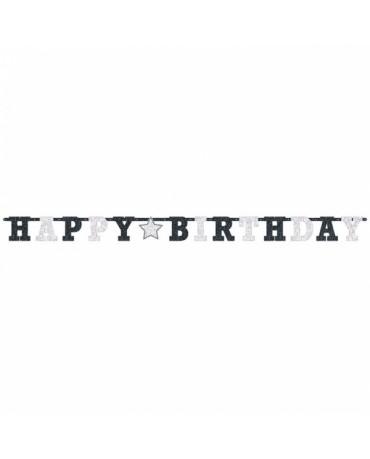 Banner Hap. Birthday - čierno-biely s hviezdou 2,13m