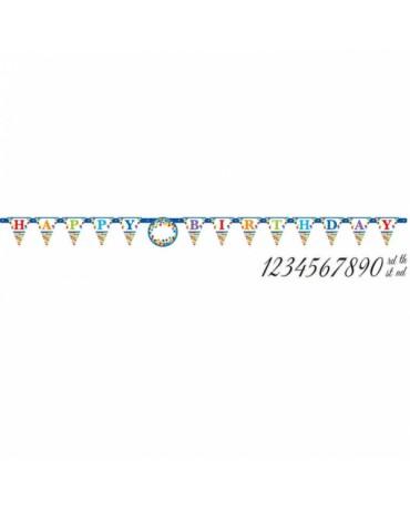 Banner Hap. Birthday a čísla- farebný 3,2m