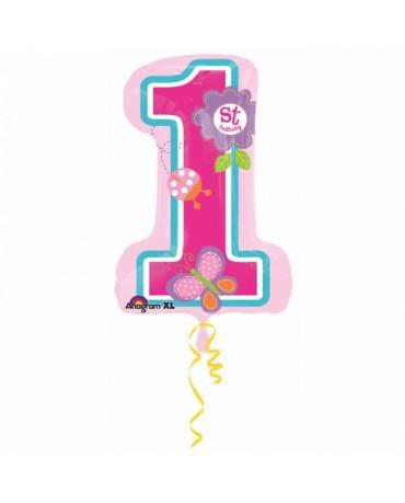 Fóliový balón číslo 1- Birthday girl 48x71cm