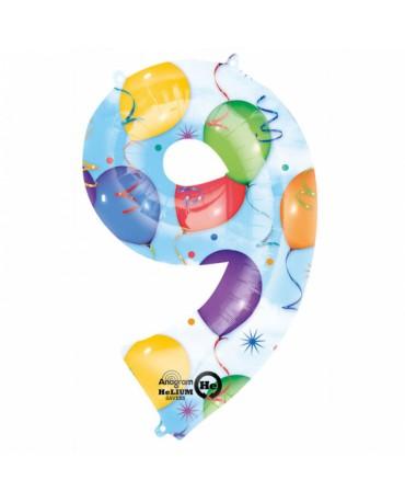 Fóliový balón číslo 9-farebný 63x86cm