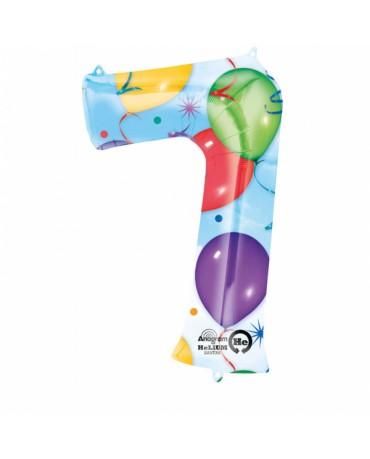 Fóliový balón číslo 7-farebný 58x88cm
