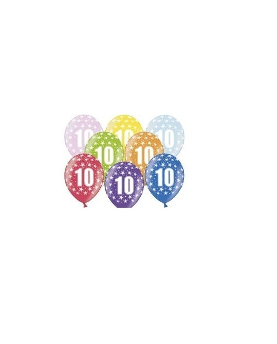 Pastelové balóny číslo 10, 12'' mix 10ks