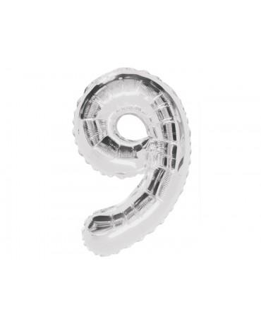 Fóliový balón číslo 9 -strieborný 86cm