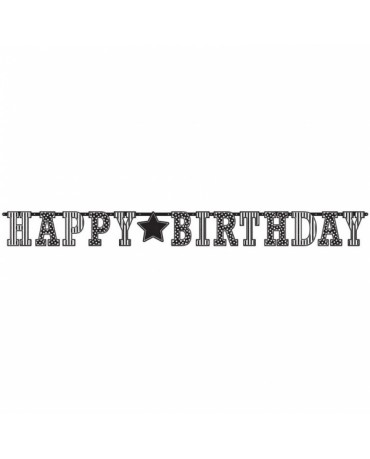Banner Happy Birthday - čierno-biely 3,35m