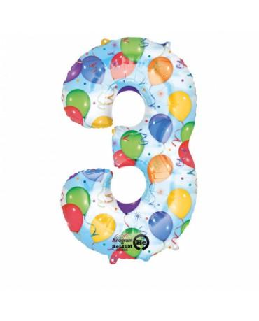 Fóliový balón číslo 3-farebný 53x88cm