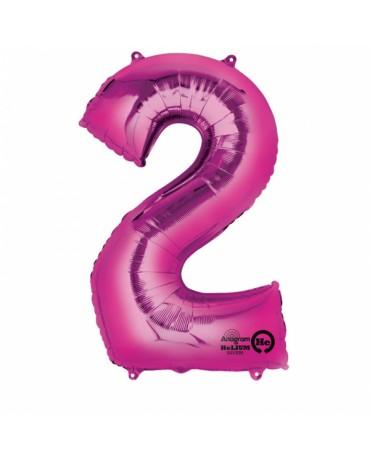 Fóliový balón číslo 2-ružový 50x88cm