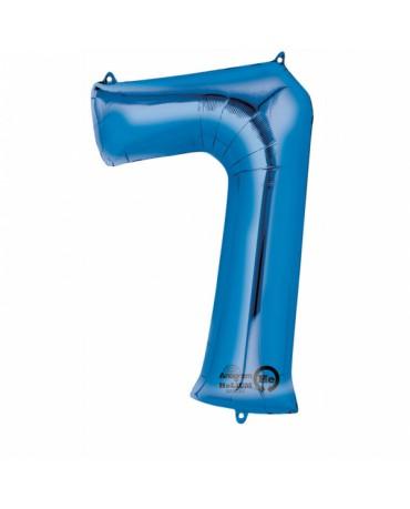 Fóliový balón číslo 7- modrý 58x88cm