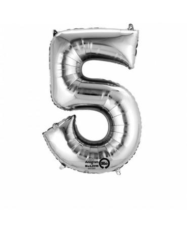 Fóliový balón číslo 5- strieborný 58x86 cm