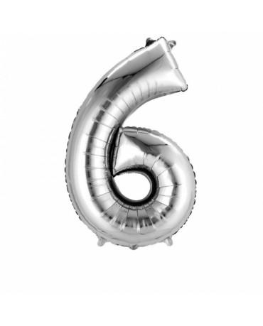 Fóliový balón číslo 6- strieborný 55x88cm