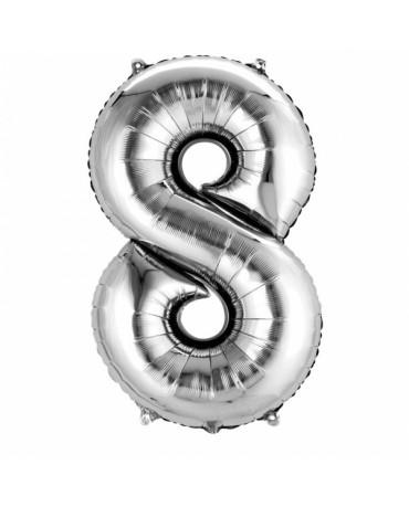 Fóliový balón číslo 8-strieborný 53x83cm
