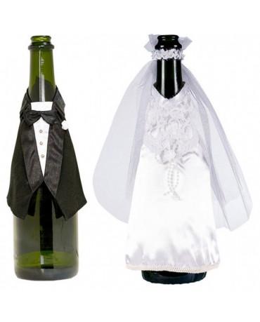Dekorácia na flašu - ženích a nevesta