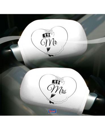 Návleky na spätné zrkadlá Mr & Mrs