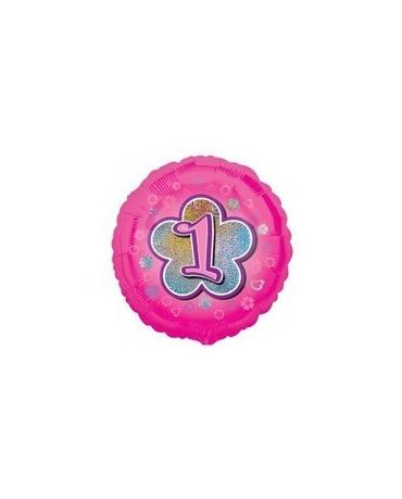 Fól. balón č. 1 - ružový s kvetom 47cm