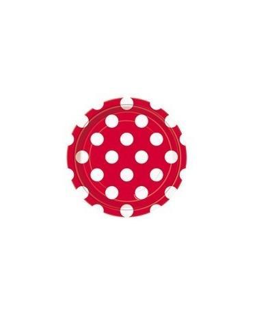 Tanieriky - červené-biel.bodky 18 cm 8ks