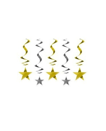 Špirály - zlaté a strieborné hviezdy 60cm 5ks