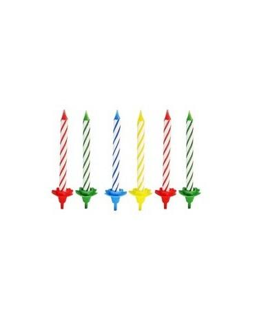 Sviečky - fareb.špirály a podstavce 24ks