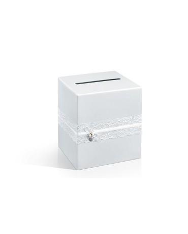 Box na telegramy- biela čipka