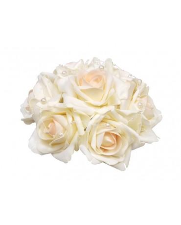Dek. kytica ruží - krémová  20cm