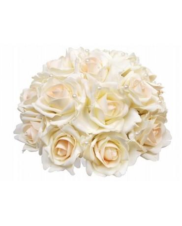 Dek. kytica ruží - krémová  30cm