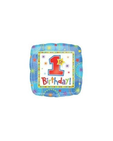 Fól. balón -1 Birthday -modrý 45cm