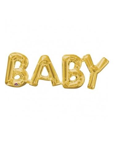 Fól. balón BABY zlatý 66x22cm