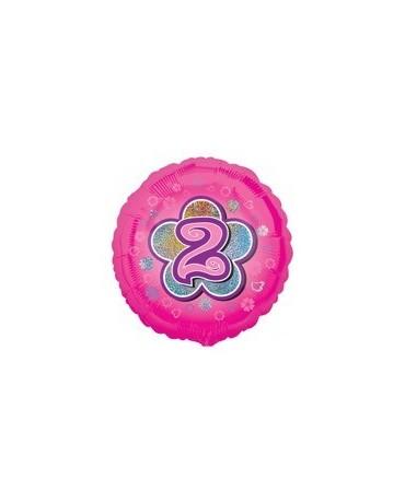Fól. balón č. 2 - ružový s kvetom 47cm