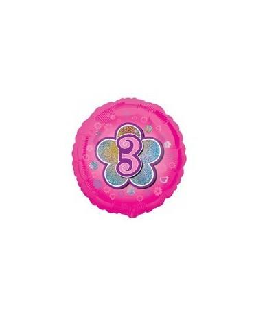 Fól. balón č. 3 - ružový s kvetom 47cm