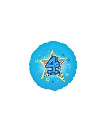 Fól. balón č. 4 - modrý s hviezdou 47cm
