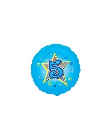 Fól. balón č. 5 - modrý s hviezdou 47cm
