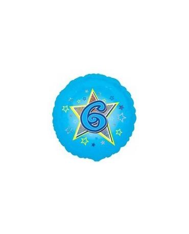 Fól. balón č. 6 - modrý s hviezdou 47cm