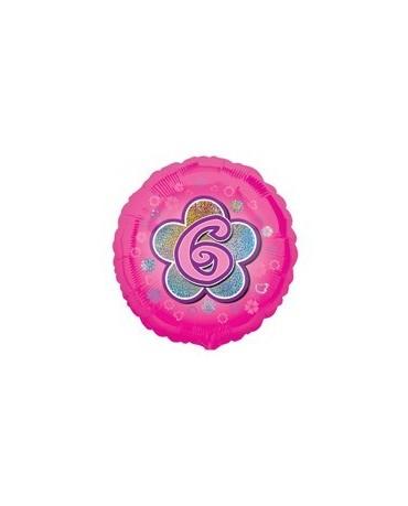 Fól. balón č. 6 - ružový s kvetom 47cm