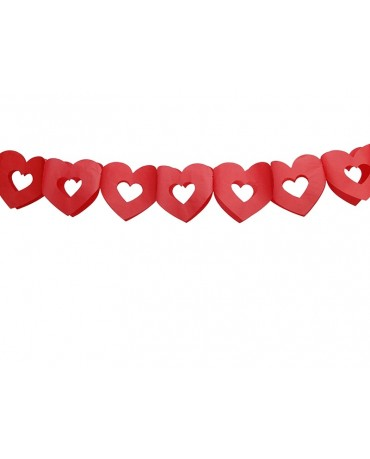Girlanda červené srdcia 13x300cm