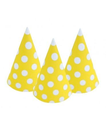 Klobúky žlté - biel.bodky 6ks