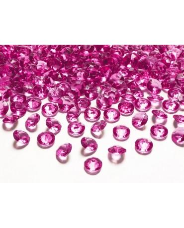 Konfety - ružové diamanty 12mm 100ks