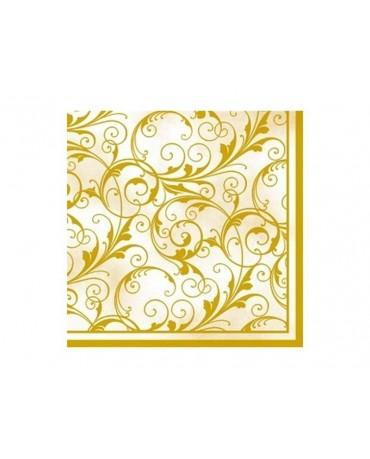 Servítky - krém. a zlaté vzory 20ks