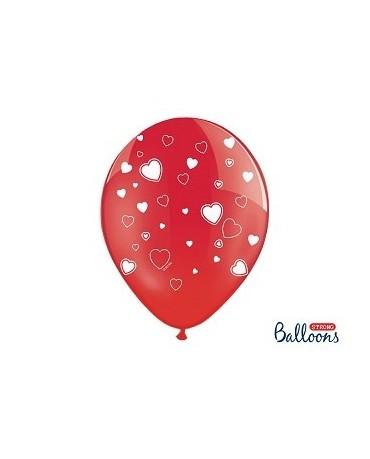 Latex. bal. - červené-biel. srdcia 30cm 10ks