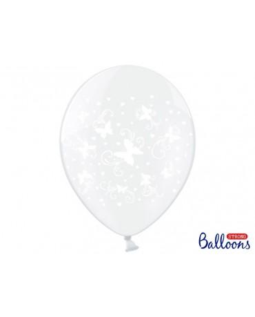 Latexové balóny priehľadné -motýle 30m 10ks