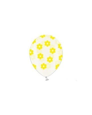 Latex. bal. priehľ. - žlté kvety 37cm 10ks