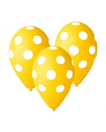 Latex.bal. žlté - biele bodky 30cm 5ks