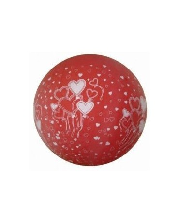 Latex. balón - červený - biel. srdcia 100cm