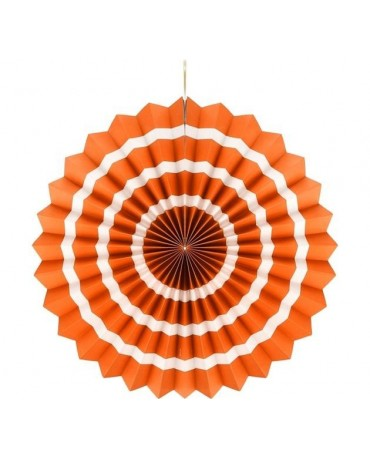 Dekor. rozeta -oranžová s biel. pás.  40cm 1ks