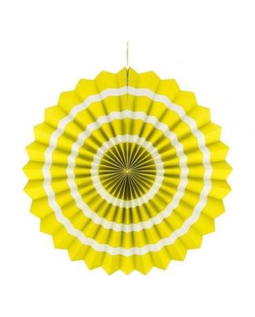 Dekor. rozeta -žltá s biel. pás.  40cm 1ks