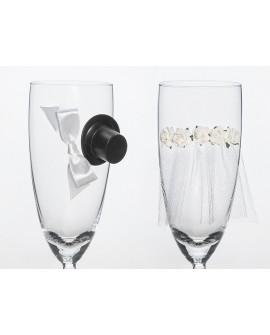 Svadobné poháre a dekorácie na fľaše